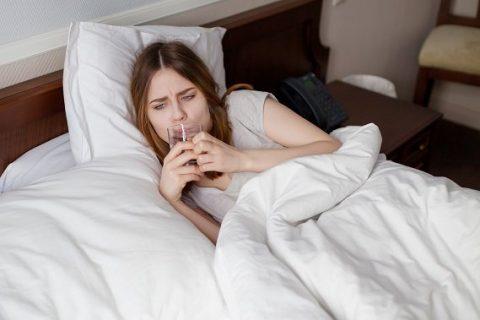 Sick Girl Drinking Water
